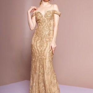 FORMAL EVENING glitter GOWN DRESS MAXI GL2552GOLD